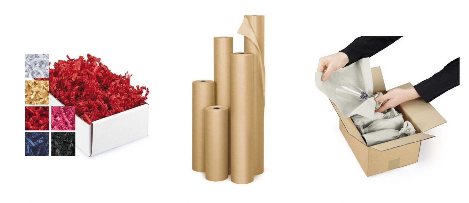 Pappersskydd som kraftpapper, makulering och silkespapper sorteras som pappersförpackning.